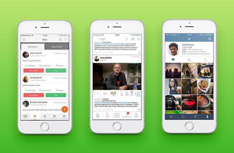 User activity in social networking app