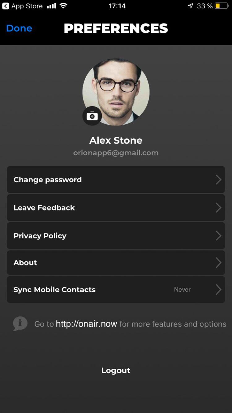 VoIP app screen 2