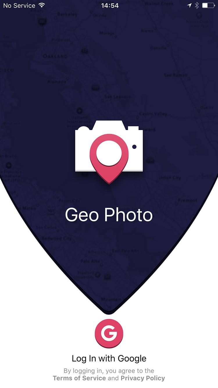 GeoPhoto LogIn page